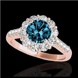 2.05 ctw SI Fancy Blue Diamond Halo Ring 10K White Gold