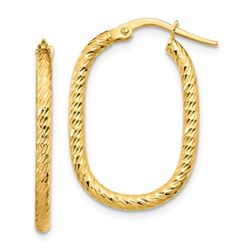 14k Yellow Gold Textured Oval Hoop Earrings - 2x2 mm