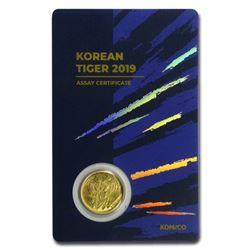 2019 South Korea 1/10 oz Gold Tiger BU (in Blue Assay card)