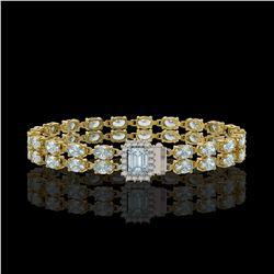 12.93 ctw Jade & Diamond Bracelet 14K Yellow Gold