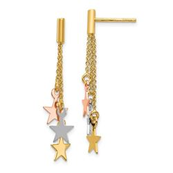 14k Tri-color Polished Dangle Stars Post Earrings