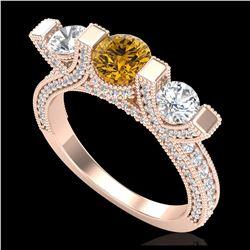 2.51 ctw SI/I Fancy Intense Yellow Diamond Ring 10K Rose Gold
