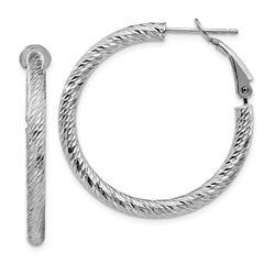 10k White Gold Round Omega Back Hoop Earrings - 25 mm