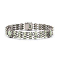 26.21 ctw Garnet & Diamond Halo Bracelet 10K Yellow Gold