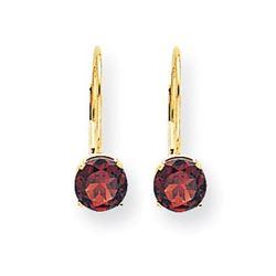 14k 18 mm Garnet Leverback Earrings