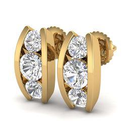 2.62 ctw VS/SI Diamond Solitaire Art Deco 3 Stone Ring 18K Yellow Gold