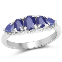 1.51 ctw Genuine Tanzanite and White Topaz .925 Sterling Silver Ring