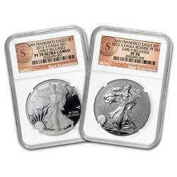 2012-S 2-Coin Prf Silver Eagle Set PF-70 NGC (ER/FR\, 75th Anniv)