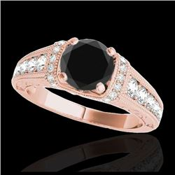 1.07 ctw Intense Fancy Yellow Diamond Art Deco Earrings 18K Rose Gold