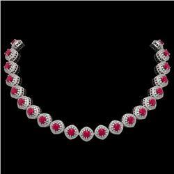 80.32 ctw Tourmaline & Diamond Halo Necklace 10K Yellow Gold