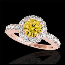 2.07 ctw VS/SI Diamond Solitaire Art Deco 3 Stone Ring 18K Rose Gold