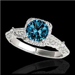 1.50 ctw VS Black Diamond Solitaire Halo Ring 10K White Gold
