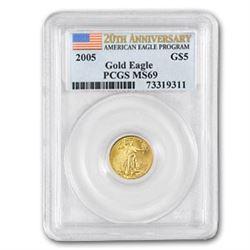 2005 1/10 oz Gold American Eagle MS-69 PCGS (20th Anniv)