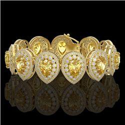 76.69 ctw Amethyst & Diamond Halo Necklace 10K Yellow Gold