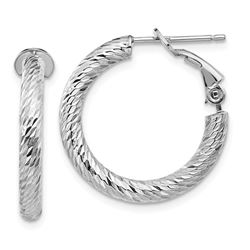 14k White Gold Diamond-cut Omega Back Hoop Earrings - 3x15 mm
