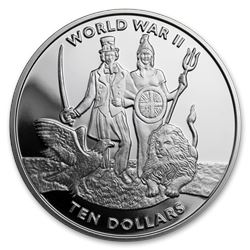 2019 BVI Silver 1 Crown Uncle Sam/Britanna WW II\, 80th Anniv