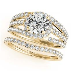 1.26 ctw VS/SI Cushion Diamond 2pc Set Halo 14K Yellow Gold