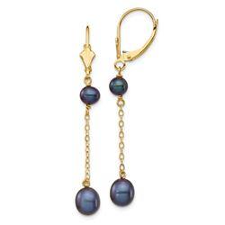 14k Yellow Gold Black Rice Pearl Leverback Earrings - 5-7 mm