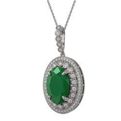 29.73 ctw Jade & Diamond Halo Necklace 10K Rose Gold