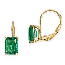 14k 7x5 mm Emerald Cut Mount St. Helens Leverback Earrings