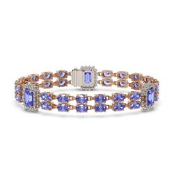 20 ctw SI/I Intense Blue Diamond Bracelet 18K Rose Gold