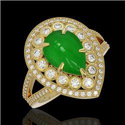 1.71 ctw Intense Fancy Yellow Diamond Art Deco Ring 18K White Gold
