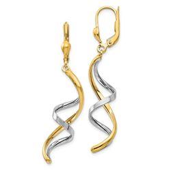 14k Two-tone Spiral Leverback Earrings