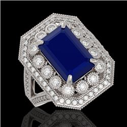 14.25 ctw Tanzanite & Diamond Halo Bracelet 10K White Gold