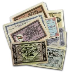 1923 German Weimar Republic Inflation Currency Set (9 Notes)