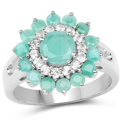 11.01 ctw Genuine Blue Topaz and White Zircon .925 Sterling Silver Ring