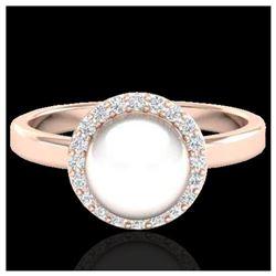0.53 ctw Fancy Intense Blue Diamond Art Deco Ring 18K Rose Gold