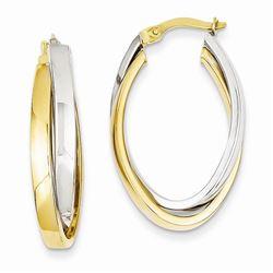 14k Two-tone Oval Hoop Earrings