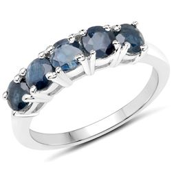 1.80 ctw Genuine Blue Sapphire .925 Sterling Silver Ring