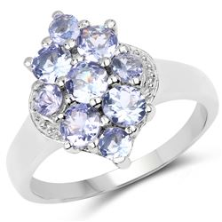 1.85 ctw Genuine Amethyst and White Topaz .925 Sterling Silver Ring