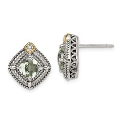 Sterling Silver w/14k Accent Green Quartz Post Earrings