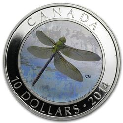 2014 Canada 1/2 oz Silver $10 Dragonfly Green Darner (Hologram)