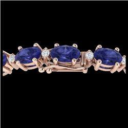 19.7 ctw Tanzanite & VS/SI Diamond Eternity Bracelet 10K Rose Gold