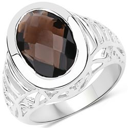 0.88 ctw Genuine Green Sapphire and Orange Sapphire .925 Sterling Silver Ring