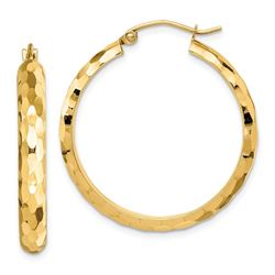 14k Yellow Gold Diamond-cut Textured Hoop Earrings