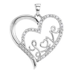 Sterling Silver Round Diamond Heart Heartbeat Ring 1/20 Cttw