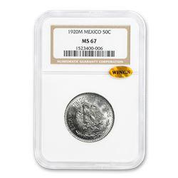 1920-M Mexico Silver 50 Centavos Cap & Rays MS-67 NGC