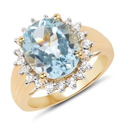 2.42 ctw Genuine Blue Topaz and White Topaz .925 Sterling Silver Ring