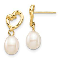 14k Yellow Gold White Rice C Pearl Heart Dangle Earrings - 5-6 mm