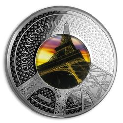2019 Solomon Isld 5 oz Silver Translucent Treasures Eiffel Tower
