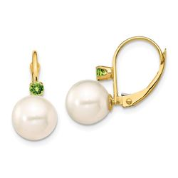 14k Yellow Gold White Pearl Peridot Leverback Earrings - 8-8.5 mm