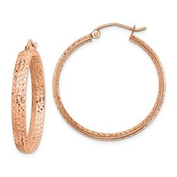 14k Rose Gold Diamond-cut In/Out Hoop Earrings - 38 mm