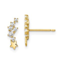 14k Shooting Star Cubic Zirconia Post Earrings - 46 mm
