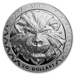 2019 Sierra Leone 2 oz Silver £20 High Relief Big Five: Lion Prf