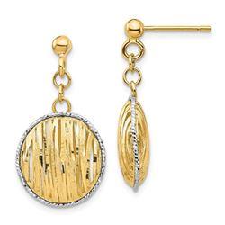 14k Yellow Gold & White Rhodium Polished Dangle Post Earrings