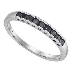 Sterling Silver Round Black Color Enhanced Diamond Simple Heart Pendant 1/20 Cttw